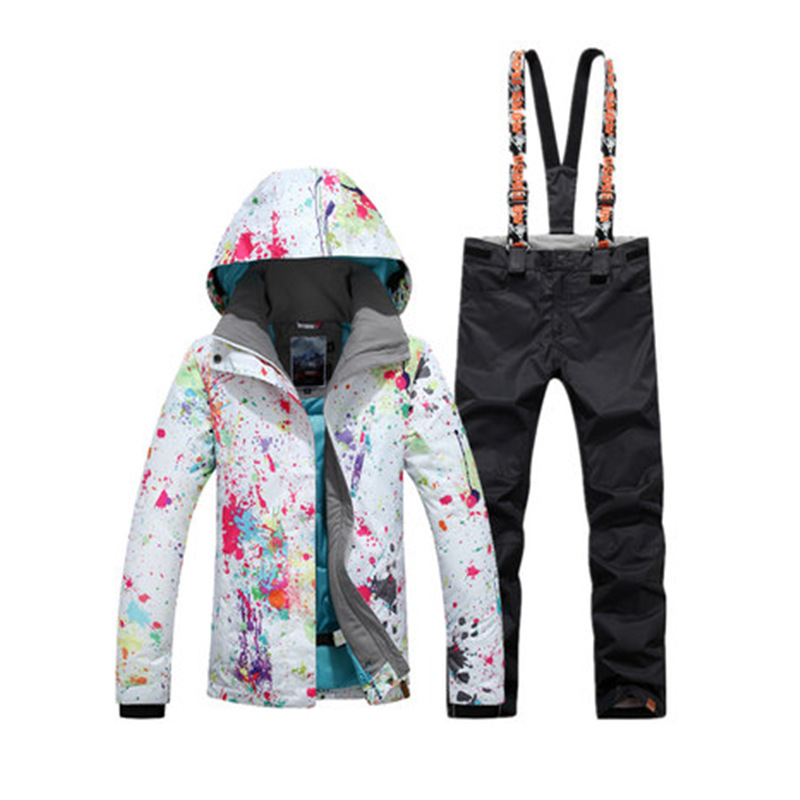 High Quality GS Womens Snow Costume Snowboarding suit set 10K Waterproof Windproof Wear Mountain Ski Jacket and strap Snow pantHigh Quality GS Womens Snow Costume Snowboarding suit set 10K Waterproof Windproof Wear Mountain Ski Jacket and strap Snow pant