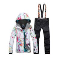 High Quality GS Women's Snow Costume Snowboarding suit set 10K Waterproof Windproof Wear Mountain Ski Jacket and strap Snow pant