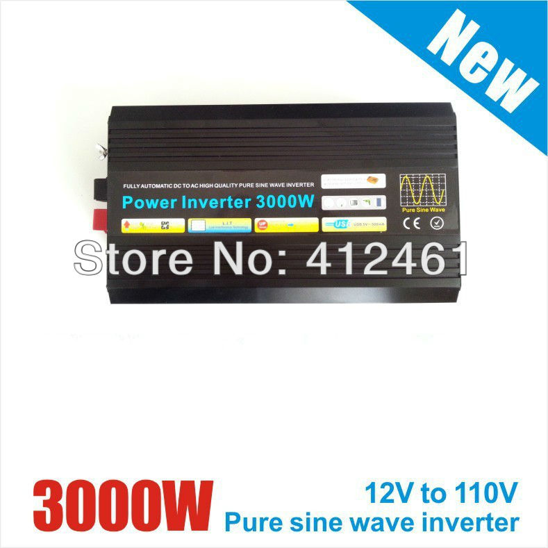 3000W 12V/24VDC to 110V/220VAC Off Grid Pure Sine Wave Single Phase Solar or Wind Power Inverter, Surge Power 6000W 800w off grid inverter surge power 1600w 12v 24vdc to 110v 220vac pure sine wave single phase inverter for solar or wind system