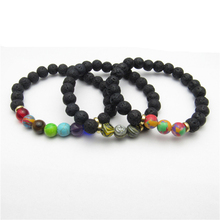 Fashion 8mm Black Lava Natural Stone Beads Bracelets For Women Accessories Vintage Volcanic Rock Bead Bracelet Men Jewelry Gifts fashion men 6mm bead bracelets classic natural matte stone beads charm handmade bracelet