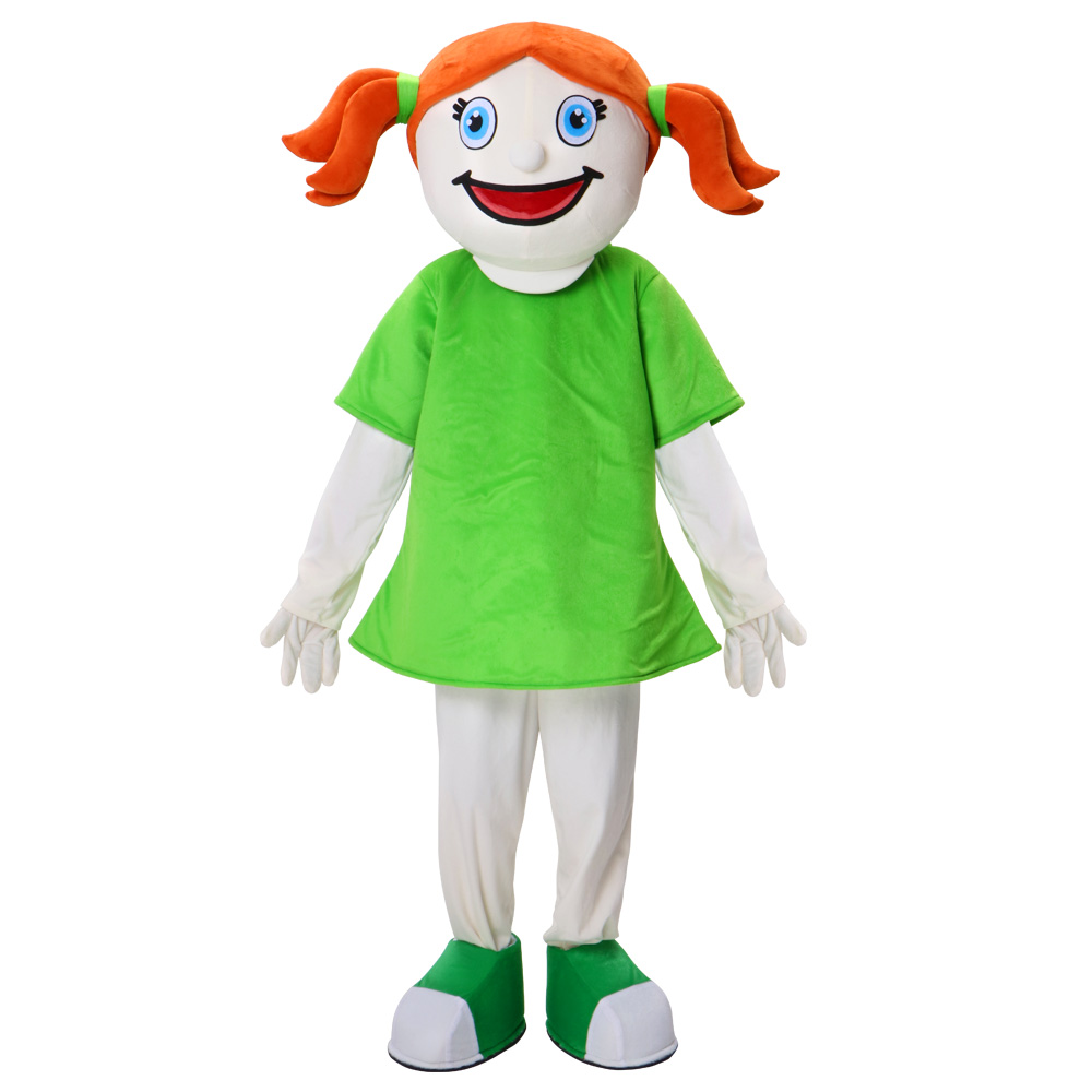 Hot Sale cute smiling face girl Mascot Costume orange hair with green dress Cartoon Character Party Dress Costume for Halloween