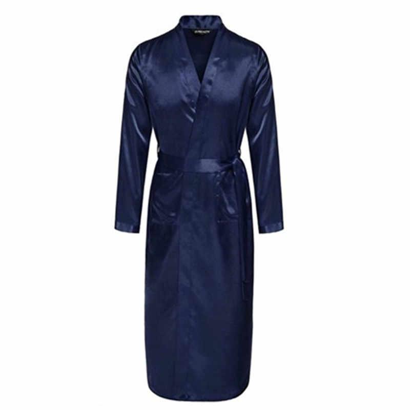 紺中国男性シルクレーヨンローブ夏カジュアルパジャマvネック着物浴衣風呂ガウンでベルトサイズs m l xl xxl