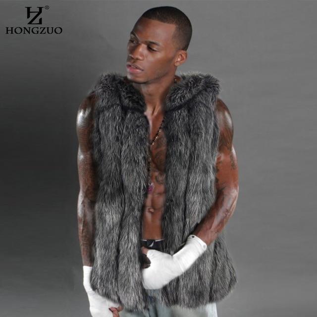HONGZUO Brand New Grey Faux Fur Vest Man Fashion Winter Thick Men Waistcoats Sleeveless Coat Outerwear Coats PC208