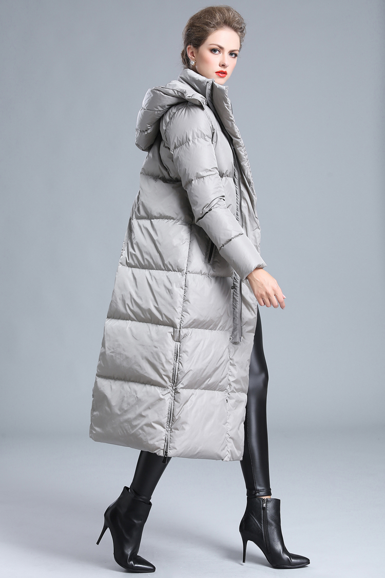 2020 women's winter clothing puffer zipper down coat big size 4XL black gray navy blue thick warm large size long down jacket