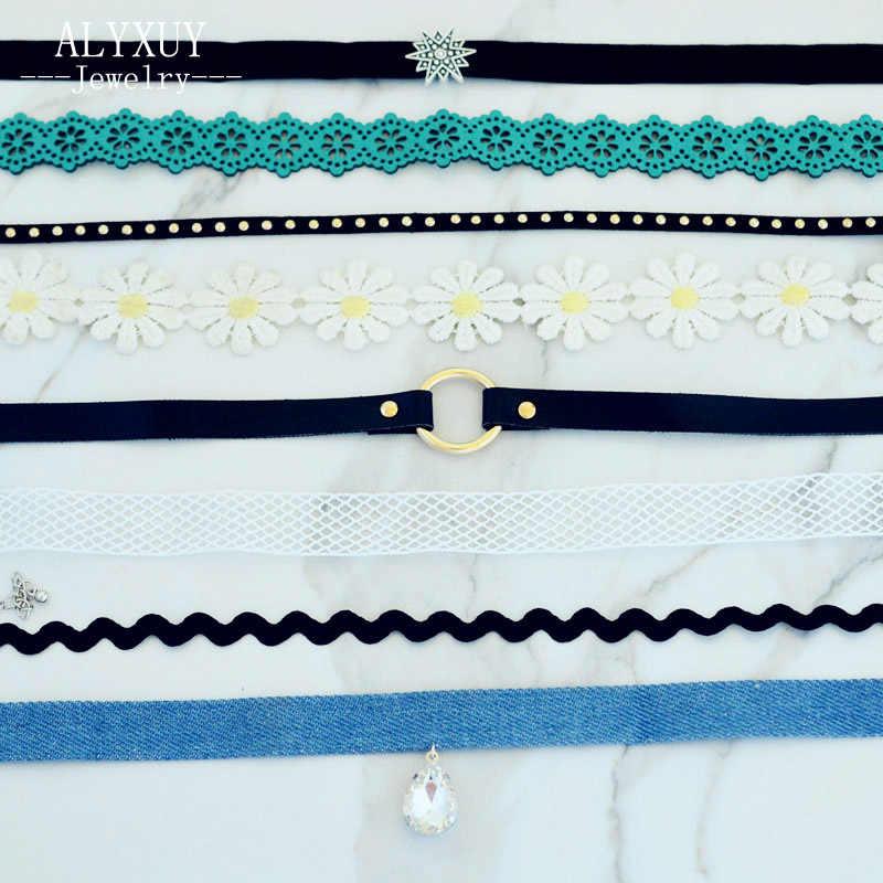 ALYXUY 6 ピース/セット新ファッションジュエリーのミックスデザインレースの花のネックレスセット女性ガールヴィンテージゴシックベルベットチョーカーネックレス