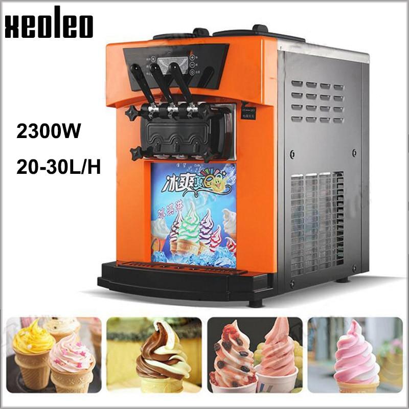 XEOLEO 3 Flavors Yogurt machine 2300W Commercial Soft Ice cream maker R22 Silver/Orange/Golden 25L/h Ice cream machine xeoleo single flavor ice cream maker soft ice cream machine 18l h 220v 50hz r22 commercial yogurt machine