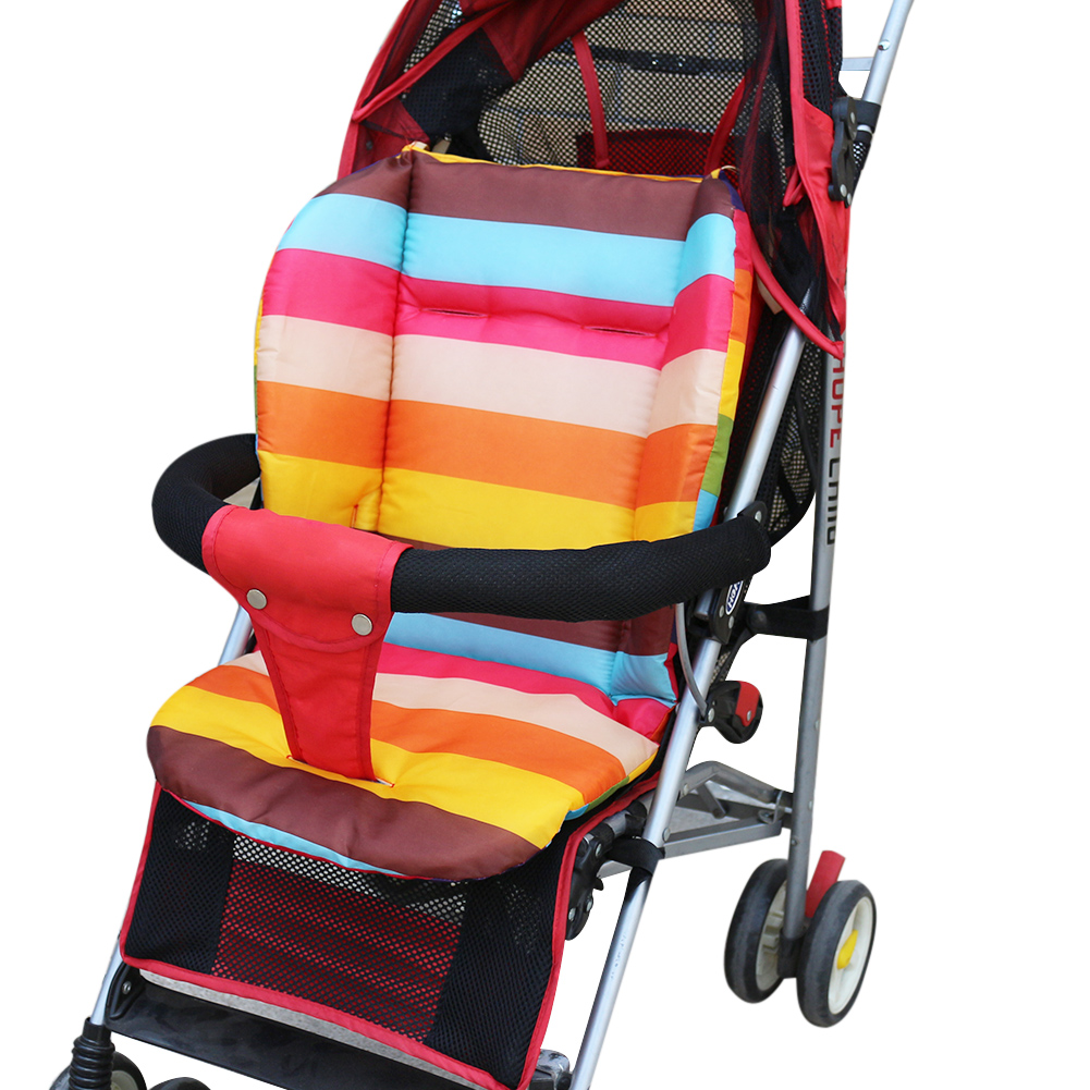 buy baby stroller seat cushion rainbow color thickening baby carriage cart. Black Bedroom Furniture Sets. Home Design Ideas