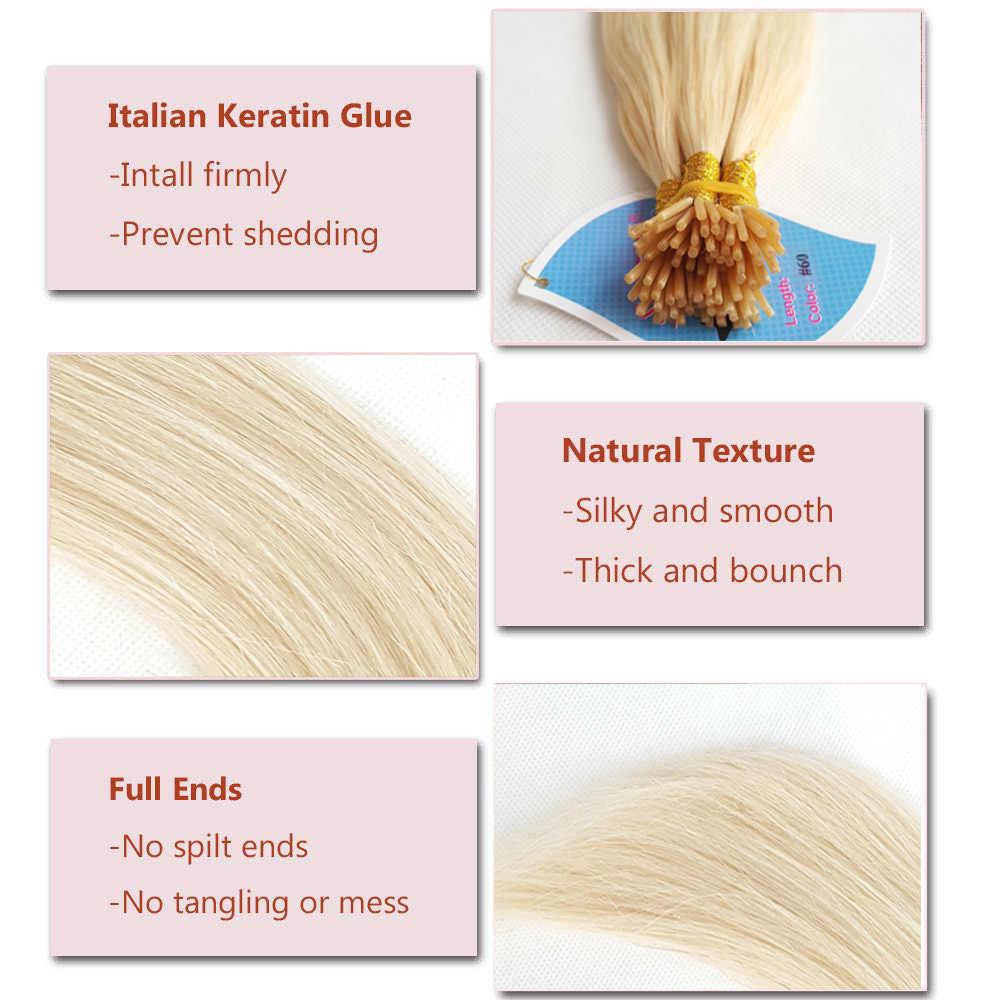 """ShowCoco 200 пряди/упаковка I Tip Наращивание волос человеческие волосы Remy шелковистые прямые мягкие Толстая ручка кончик волос натуральный 16 """"-"""