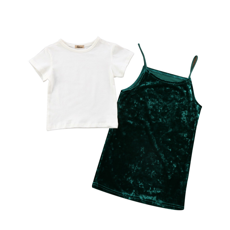 Fashion Infant Toddler Baby Girls Kids Summer Clothing Sets Cotton T-shirt Tops Matching Dress Velvet Party Princess Clothes Set hot sale 2016 kids boys girls summer tops baby t shirts fashion leaf print sleeveless kniting tee baby clothes children t shirt