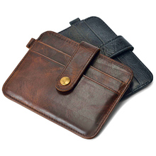 Men s Faux Leather Slim Wallet ID Credit Card Holder Button Case