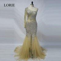 Abendkleider 2016 Champagne Mermaid Evening Dresses Long Sleeve One Shoulder Rhinestone Beaded Elegant Women Long Prom
