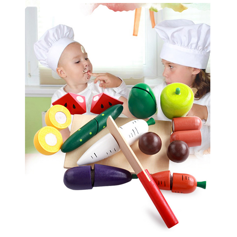 Wood Kitchen Toys Kids Fruits And Vegetables Cutting Toy