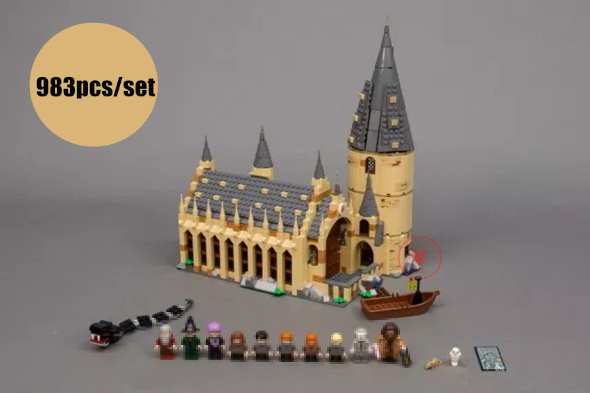 New Harry Movie Hogwarts Great Wall Set fit legoings Harry Potter castle figures Building Blocks bricks Model Kid Toy 75954 Gift