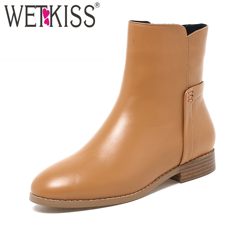 WETKISS Genuine Leather Autumn Winter Boots Side Zipper Ankle Boots 2018 New Style Women Shoes Brand Leisure Chunky Heel Shoes [krusdan]british style men autumn winter boots solid casual genuine leather retro boots falts brand red wine male ankle boot