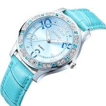 SKONE de marca diseño nuevo de la manera rhinstone mujeres de lujo reloj de cuero ocasional clásico elegante dama reloj de pulsera de mujer de cuarzo
