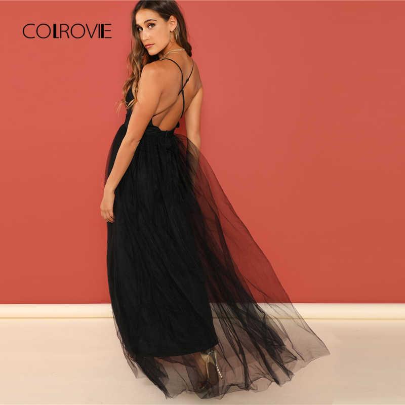 Colrovie preto sólido profundo decote em v sem costas criss cross mesh vestido de festa feminino 2018 outono sexy vestido de noite do vintage maxi vestidos