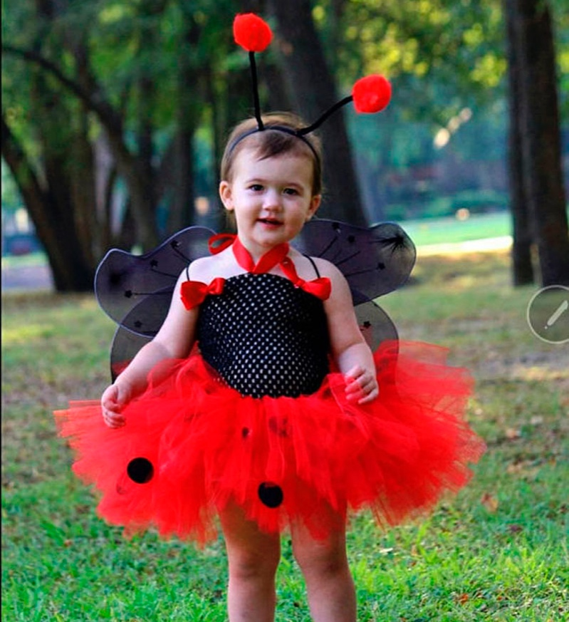45b01cfb32 Cute Girls Ladybug Tutu Dress Baby 2Layers Tulle Tutus with Butterfly Wings  Set Kids Party Dresses