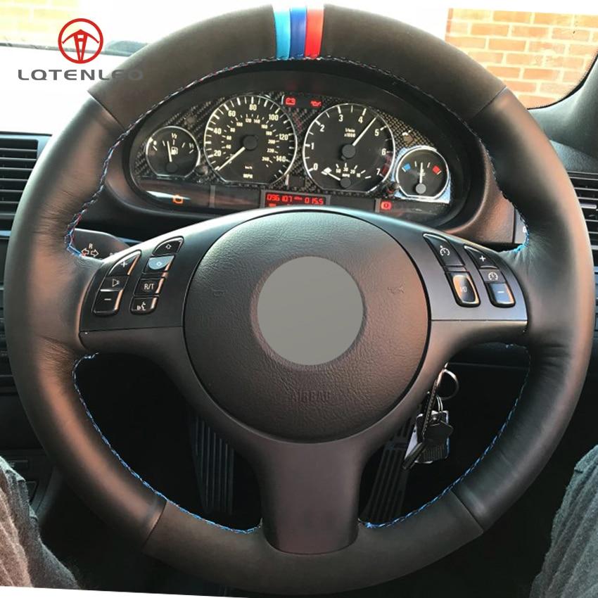 LQTENLEO Black Genuine Leather Suede DIY Car Steering Wheel Cover for BMW E46 E39 330i 540i