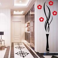 Kreatywny diy wazy plum kwiaty 3d naklejki salon tv wejście dekoracyjne akrylowe kryształowe lustro ścienne naklejki muurstickers
