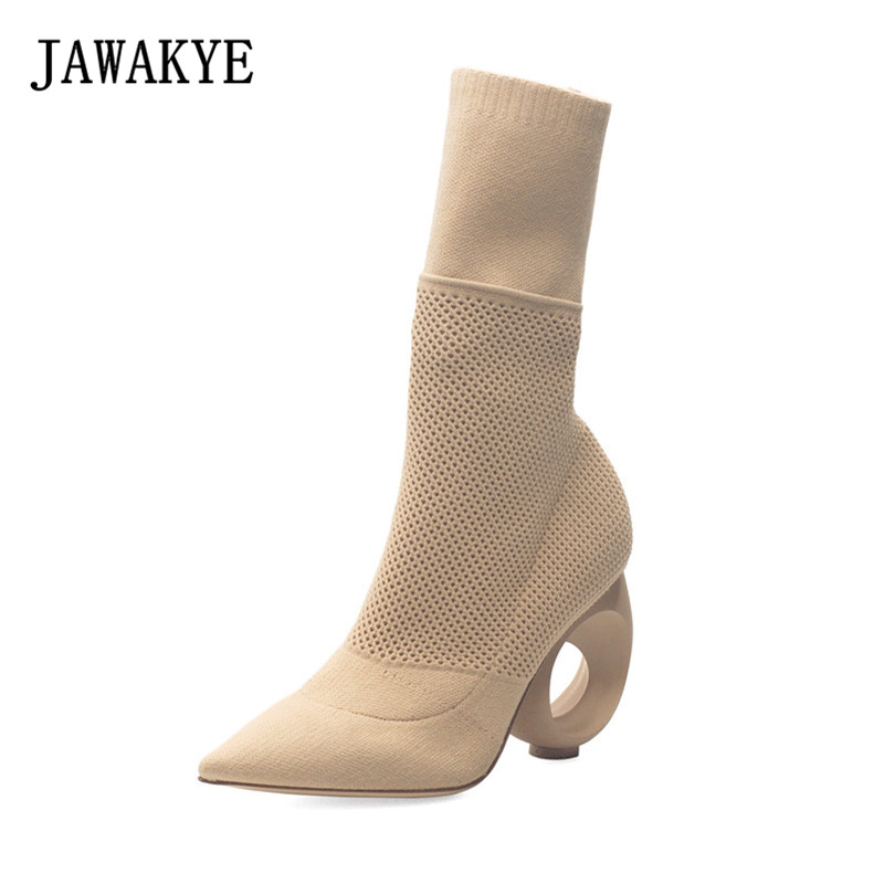 Nude Black Knitted Sock Ankle Boots for Women Round high heels Pointed toe Slim Slip on Elastic Spring Shoes Women Botas Mujer free shipping zapatos de mujer 2017 casual chunky high heels round toe women woolen shoes luxury slip on sock chelsea boots
