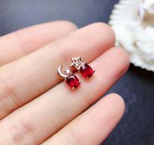 Женские серьги гвоздики shilovem рубиновое украшение из стерлингового