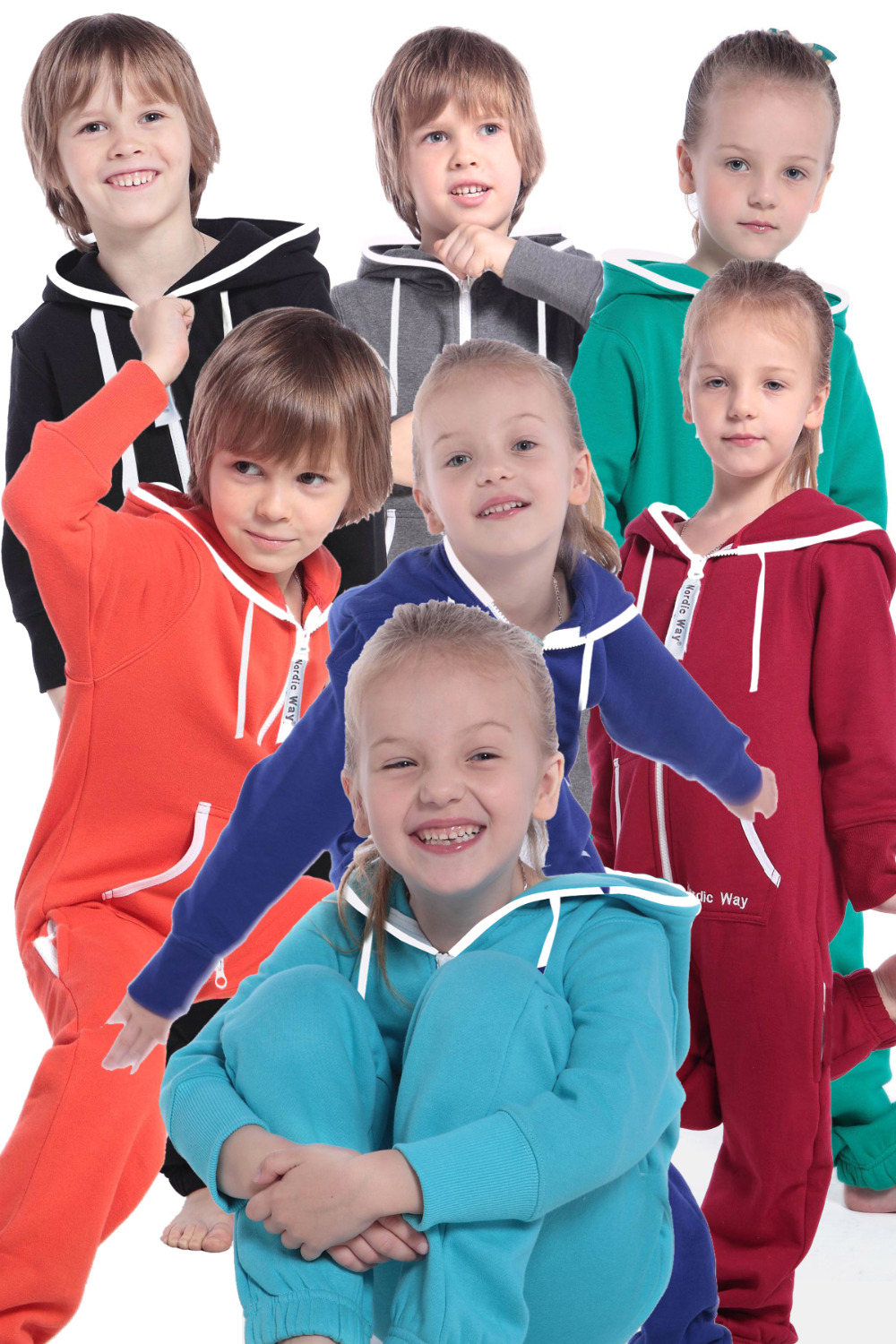 Nordic Way Overalls Hooded Zip Onesies Jumpsuit Children One Piece Unisex Romper Kid Tracksuit