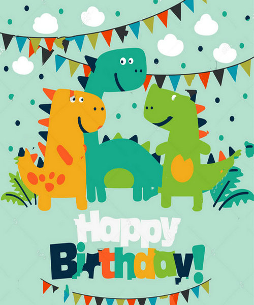Anniversary Dinosaur Happy Birthday flag clouds backdrops Vinyl cloth High quality Computer print party background