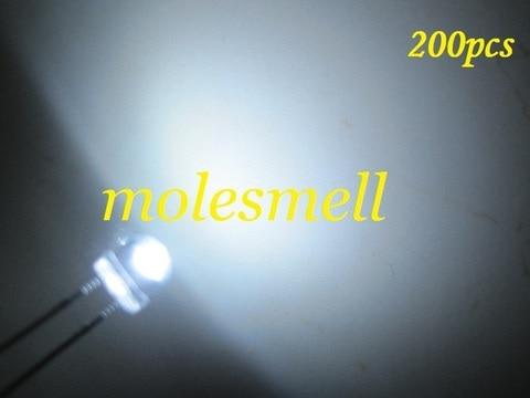 Chapéu de Palha Emissor de Luz de 5mm Lote Frete Grátis!!! Diodo Strawhat Branco Grande Ângulo Led 5mm 3000mcd 200 Pçs –