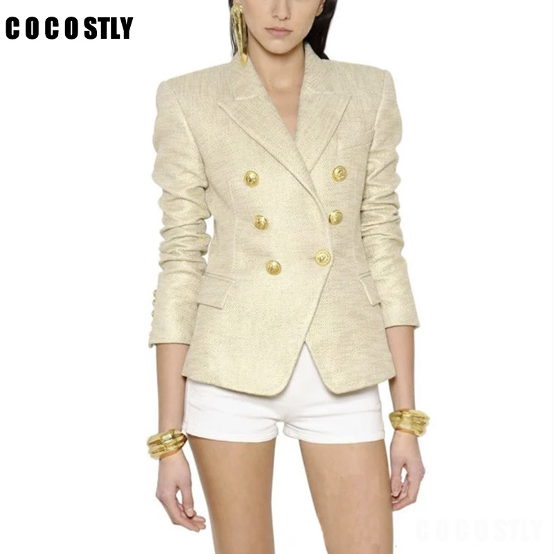 High Quality 2018 Designer Blazer Women Jackets Women's Double Breasted Metal Lion Buttons Blazer Outer Blazer Feminino