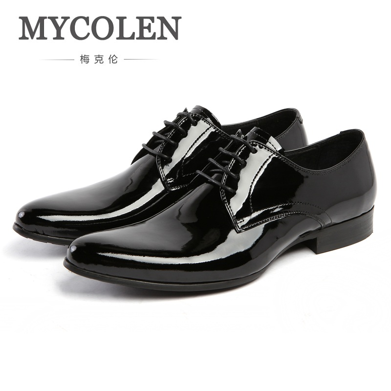 MYCOLEN Spring New Men British Style Patent Leather Business Dress Shoes Round Toe Glitter Leather Wedding Banquet Shoes mycolen mens shoes round toe dress glossy wedding shoes patent leather luxury brand oxfords shoes black business footwear