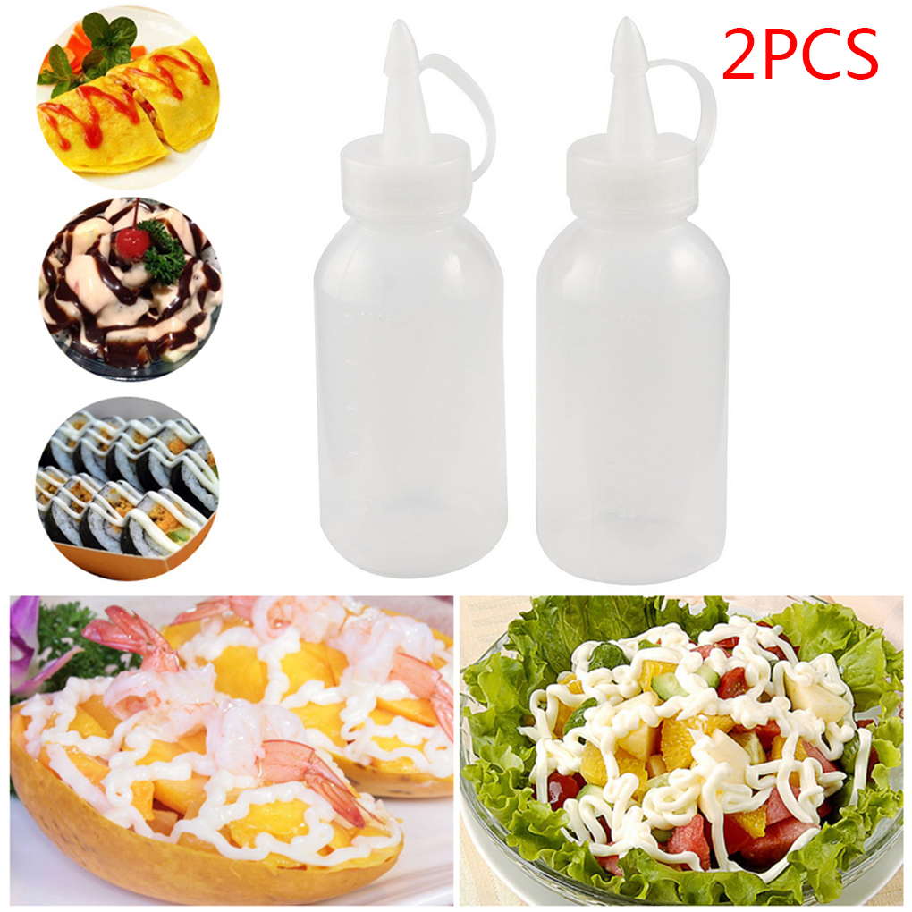2018 Newest 2pcs 100ML Plastic Oil/Sauce/ketchup/ Squeezer Liquid Bottle Dispensing Bottle White