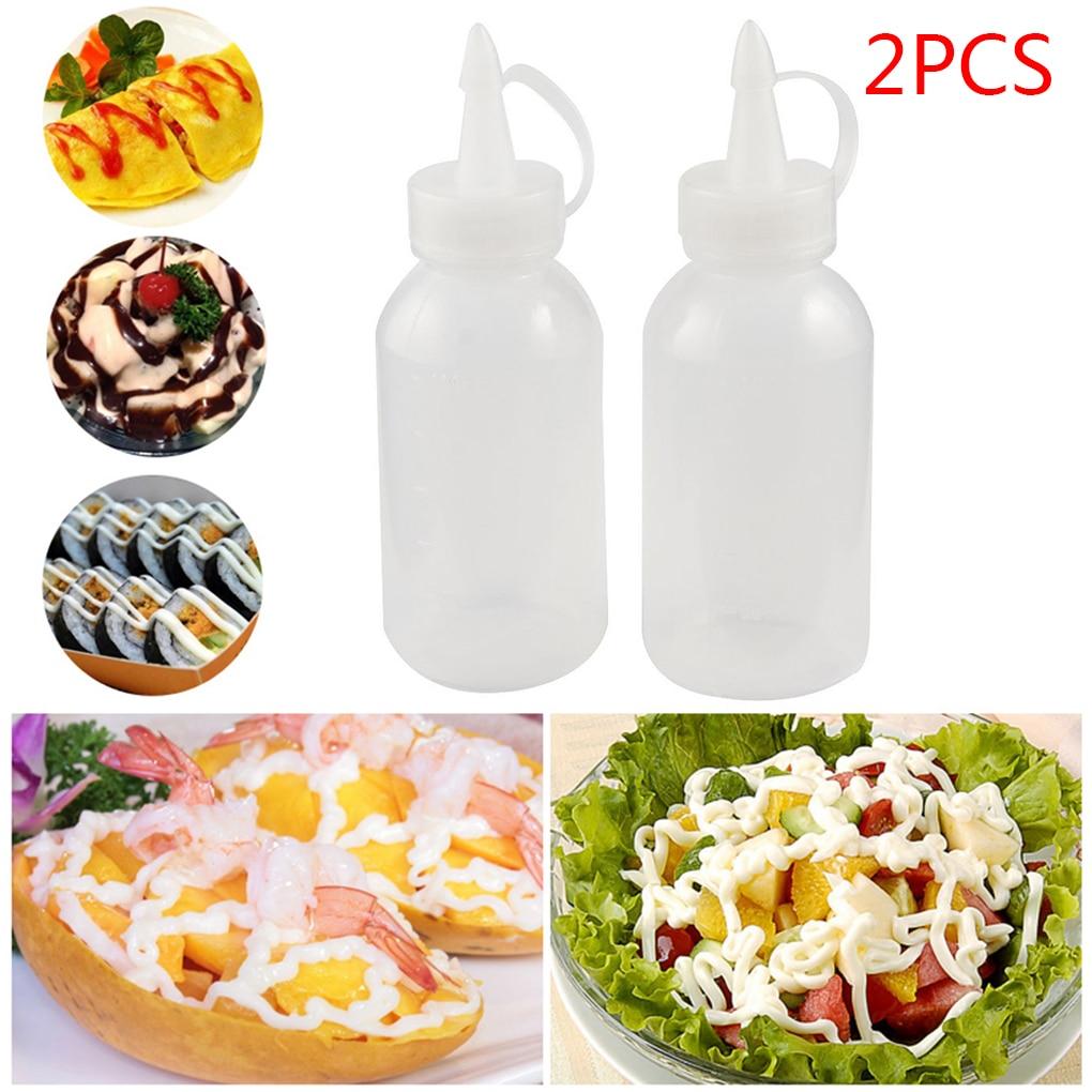 2018 Newest 2pcs 100ML Plastic Oil/Sauce/ketchup/ Squeezer Liquid Bottle Dispensing Bottle White