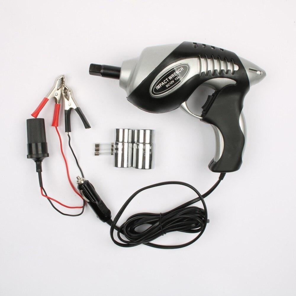 TECHSTABLE 12 v Voiture électrique clé clé à chocs électrique outils avec 2 pcs Manches 17 '19' 21 «vingt-trois»