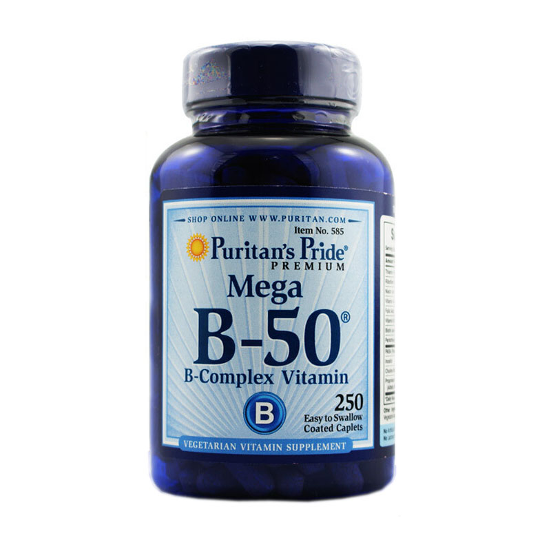 Mega B-50 B-complex Vitamin 250 coated caplets vb-50 vitamin B free shipping gnc women s ultra mega active without iron 90 caplets free shipping u s a original imported