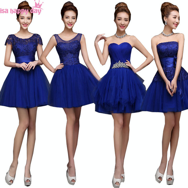 Strapless Bridal Dresses Girls Ball Gown Royal Blue Bride Dress