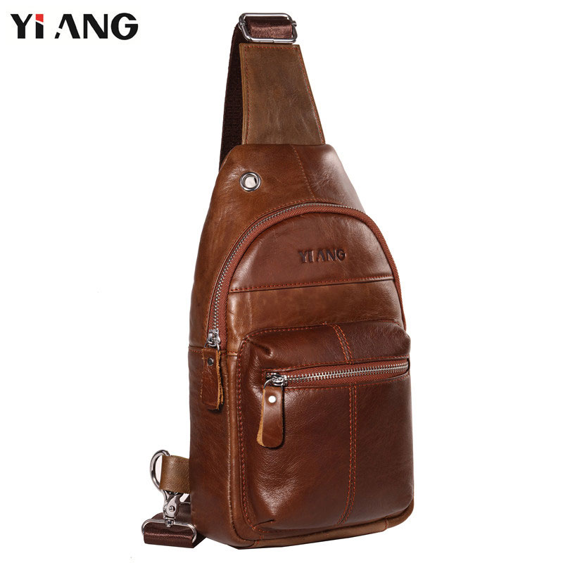 YIANG Chest Bag for Men Vintage Genuine Leather Crossbody Bags Small Messenger Bags for Man Designer Bags high quality 2017 brand genuine leather hand bag vintage designer men crossbody bags cowhide leather small messenger bag for man