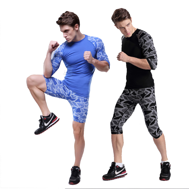 Fashion Camouflage Running Gear Men Running Shirt Leopard