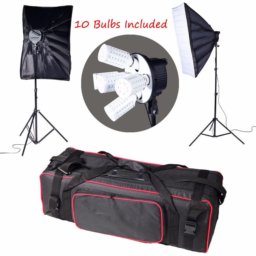 10PCS Lamps E27 LED Bulbs Photography Lighting Kit Photo Equipment+ 2PCS Softbox Lightbox+Light Stands For Photo Studio Diffuser photo studio softbox kit photo equipment of 2pcs 50x70 softbox light stand for camera photo studio diffuser ba350