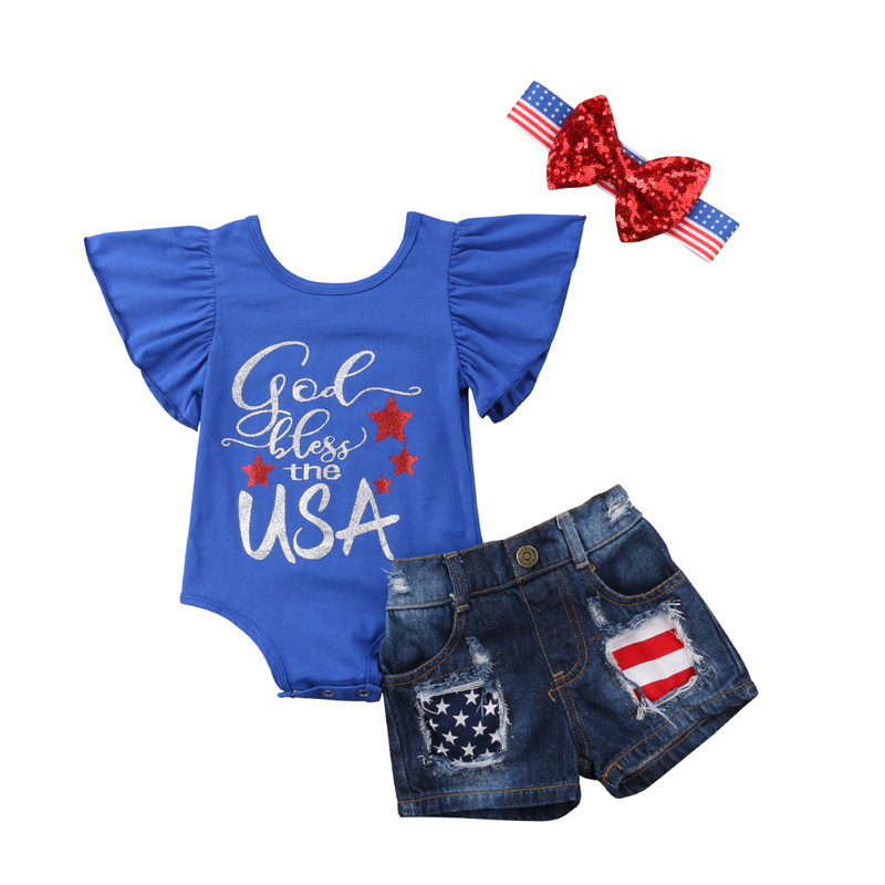 d8d0cb037 Pudcoco New Fashion Lovely Print My First 4th of July 2018 Baby Girl Outfits  Stripe&Stars Romper