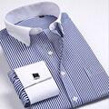 Novas abotoaduras manga da camisa Prego quente Listrado Formal dos homens da Marca vestido de noiva da marca camisas de manga longa homens plus size S5xl 6xl