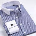 new cufflinks shirt  Nail sleeve  hot Brand  Men's Striped Formal wedding dress brand long sleeve shirts men plus size S5xl 6xl