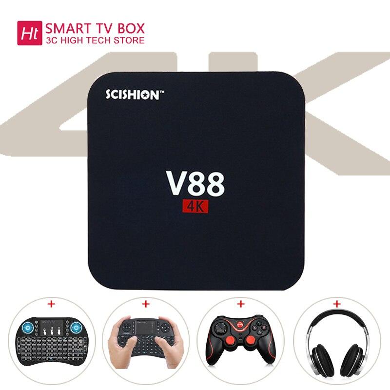 V88 Android 6.0 tv box Rockchip 3229 Quad-Core 1GB+8GB WIFI 4K 3D HD Smart TV BOX media player Add Keyboard Ship from Russian minix neo x6 quad core android 4 4 2 tv player mini keyboard white russian eu plug