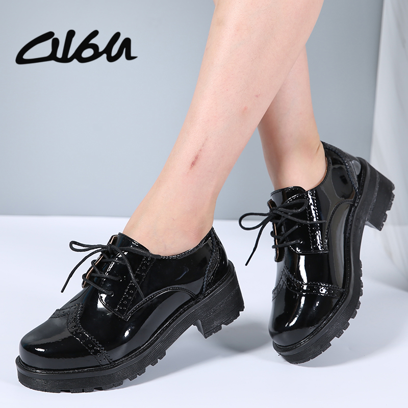 O16U Women Low Top Classic Oxfords Shoes Patent Leather Lace Up Med Square Heel Ladies Black