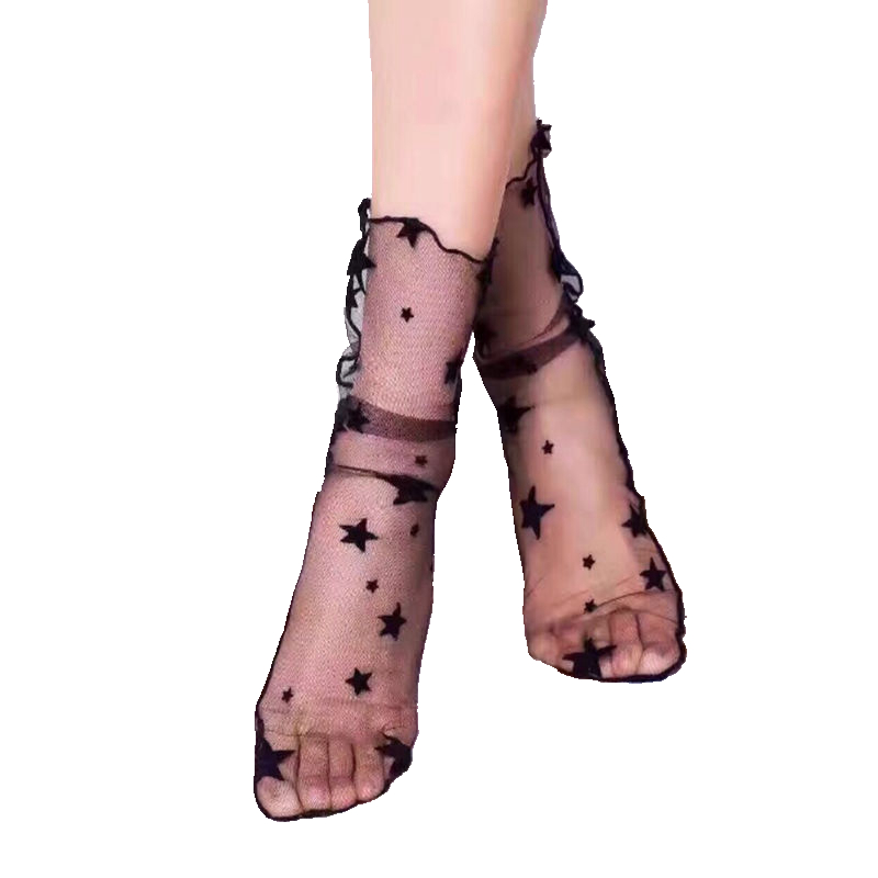 Hollow Out Socks Mesh Stars Women Thin Socks Slim Fishnet Socks Hosiery