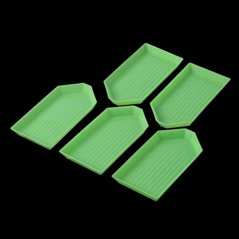 5 個 DIY 5D ダイヤモンド塗装ラインストーンプレートトレイ刺繍クロスシュティッヒツール # Aug.29