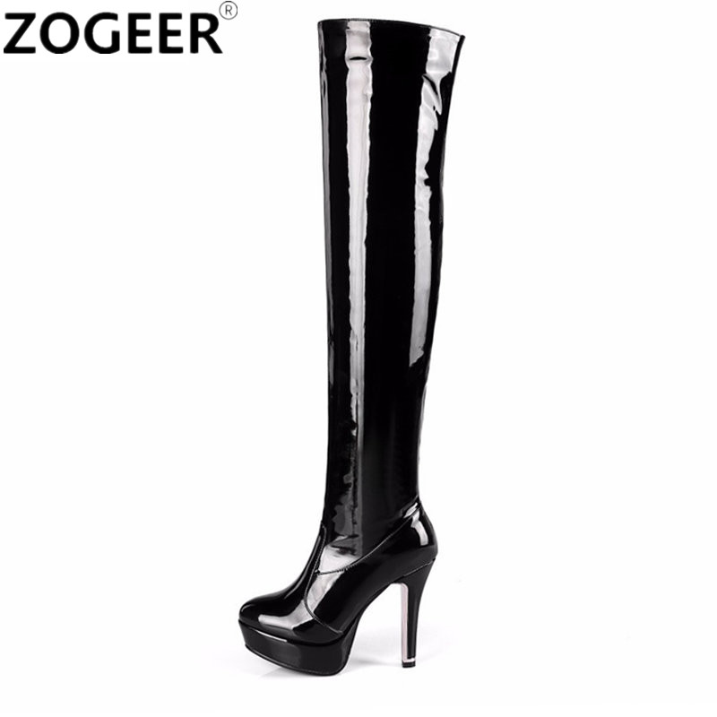 Plus size 48 Women Boots Fashion Over The Knee Boots For Women Red Sexy Platform High Heels Long Ladies Nightclub Party Shoes plus size patent leather over the knee boots for women black women winter boots sexy high heels long boots ladies platform shoes