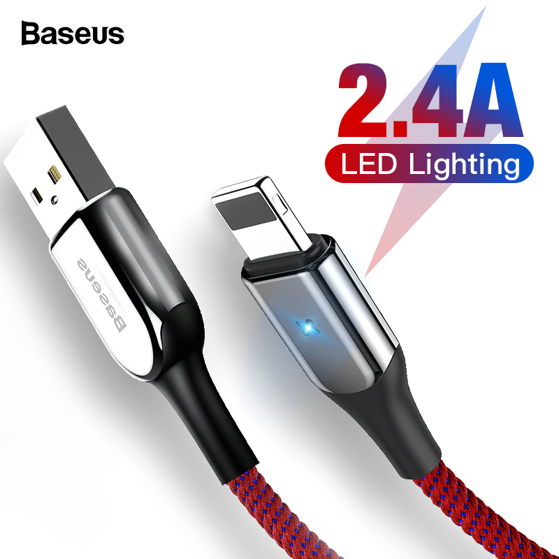 Baseus Lighting USB Cable For iPhone X XS Max XR 8 7 6 6s Plus SE iPad Fast Charging Charger Cable Data 2.4A Mobile Phone Cable-in Mobile Phone Cables from Cellphones & Telecommunications on AliExpress