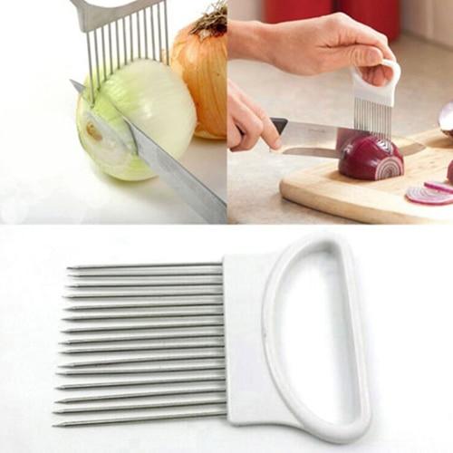 Hot Stainless Steel Onion Holder Slicer Vegetable Cutter Kitchen Gadget Tool