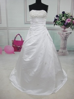 Free Shipping New Stock White Ivory Satin Beading A Line Strapless Wedding Dress Bride Gown Size