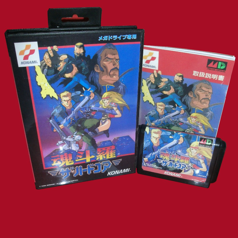 Contra JP With Box And Manual 16bit MD Game Card For Sega Mega Drive For Genesis